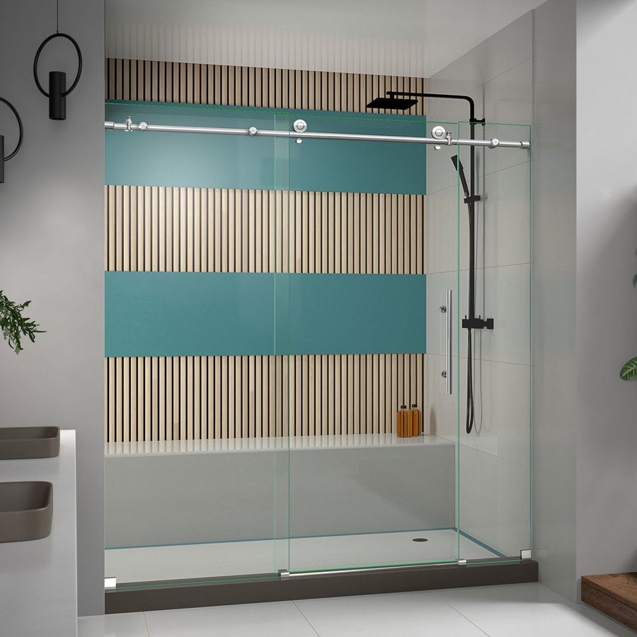 DreamLine Enigma-X 68-in to 72-in Frameless Polished Stainless Steel Sliding Shower Door