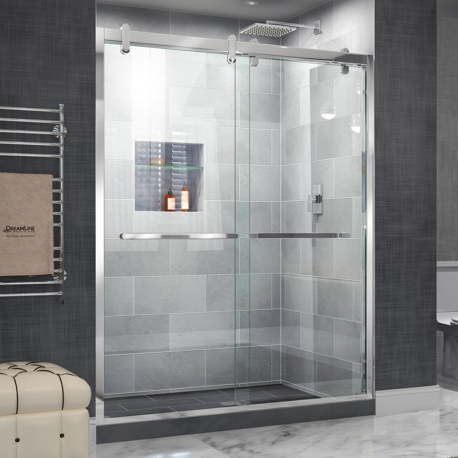 DreamLine Cavalier 56-in to 60-in W Frameless Polished Stainless Steel Sliding Shower Door