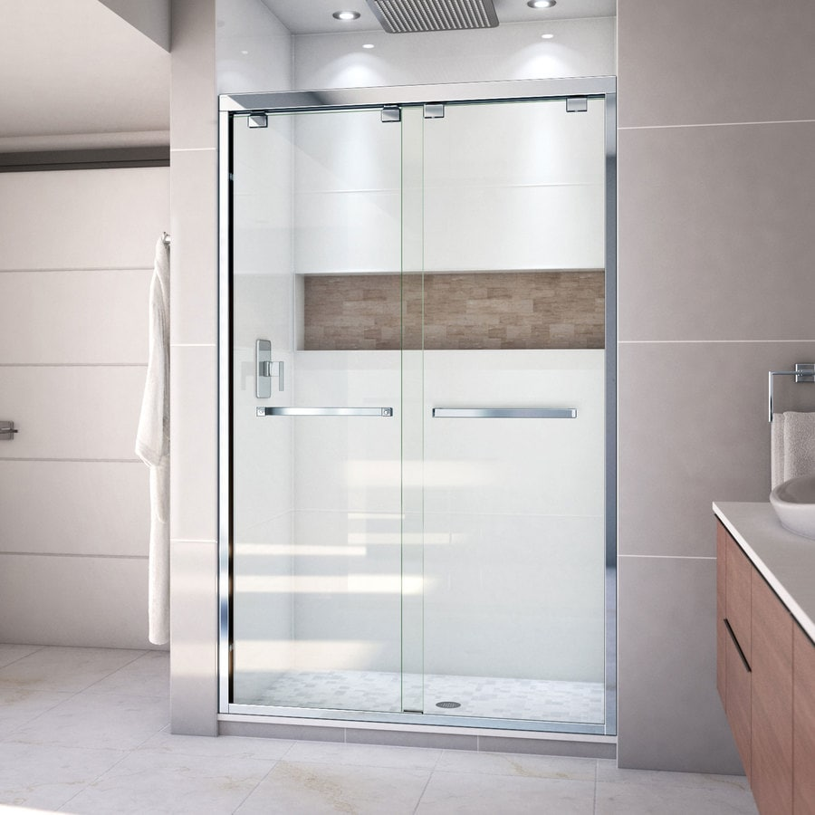 DreamLine Encore 44-in to 48-in W Frameless Chrome Sliding Shower Door