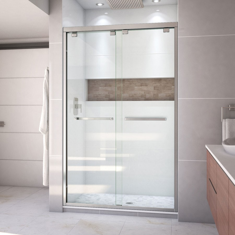 Shop dreamline encore 44 in to 48 in w frameless brushed nickel dreamline encore 44 in to 48 in w frameless brushed nickel sliding shower door eventshaper