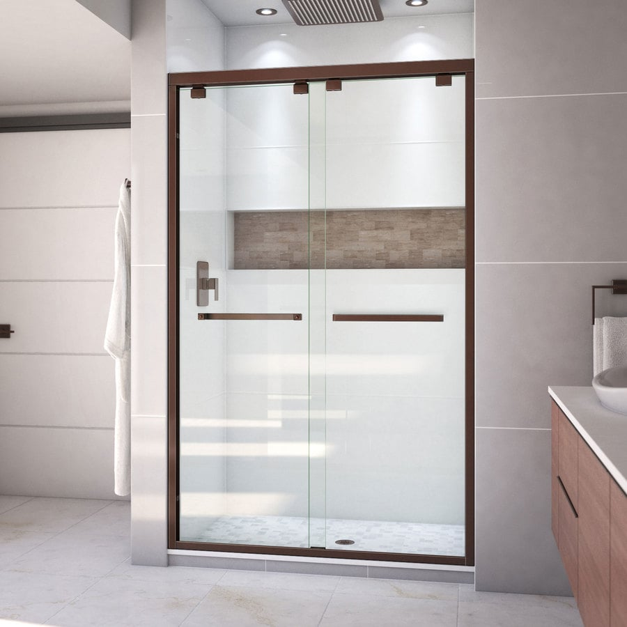 Bathroom shower doors frameless - Dreamline Encore 56 In To 60 In Frameless Oil Rubbed Bronze Sliding Shower Door