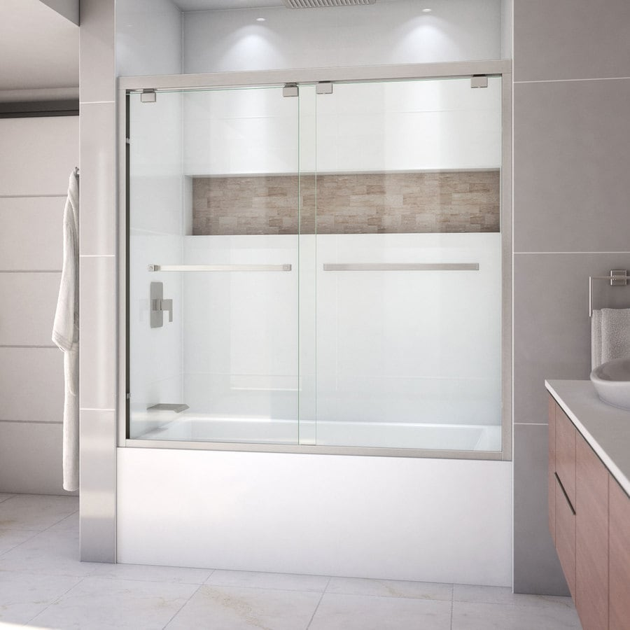 DreamLine Encore 56-in to 60-in W Frameless Brushed Nickel Sliding Shower Door