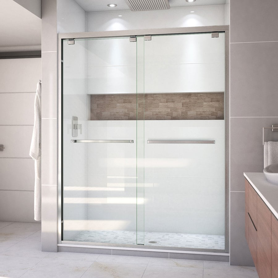 Bathroom shower doors frameless - Dreamline Encore 56 In To 60 In W Frameless Brushed Nickel Sliding Shower Door