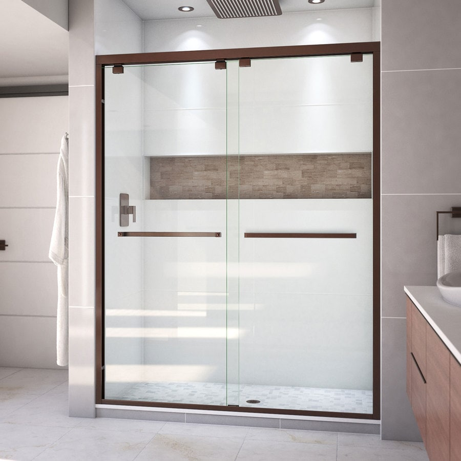 Shop dreamline encore 56 in to 60 in frameless oil rubbed Sliding glass shower doors