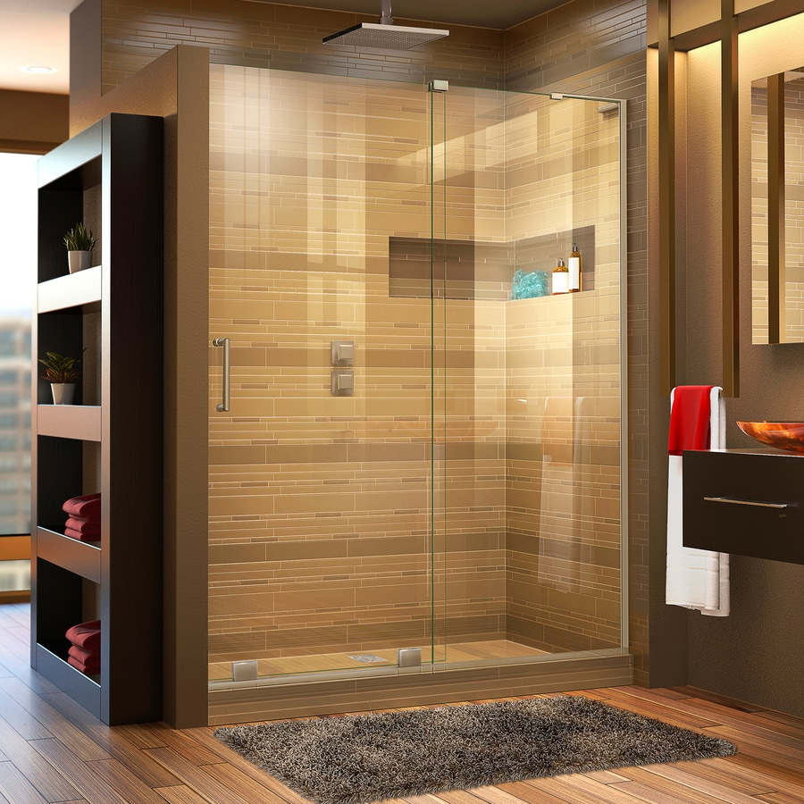 DreamLine Mirage-X 56-in to 60-in W Frameless Brushed Nickel Sliding Shower Door