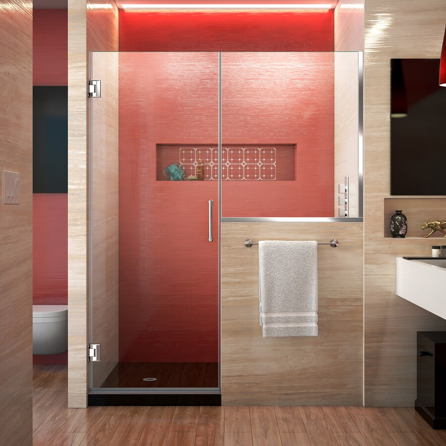 DreamLine Unidoor Plus 47-in to 47.5-in Frameless Polished Chrome Hinged Shower Door