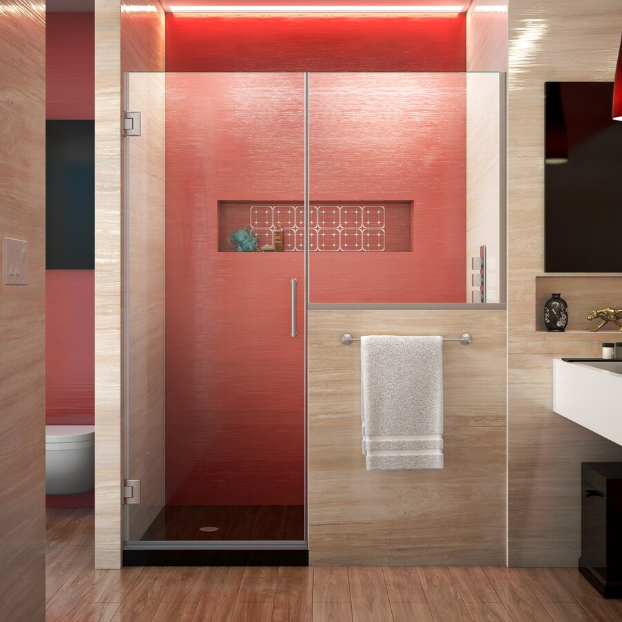 DreamLine Unidoor Plus 47-in to 47.5-in Frameless Brushed Nickel Hinged Shower Door