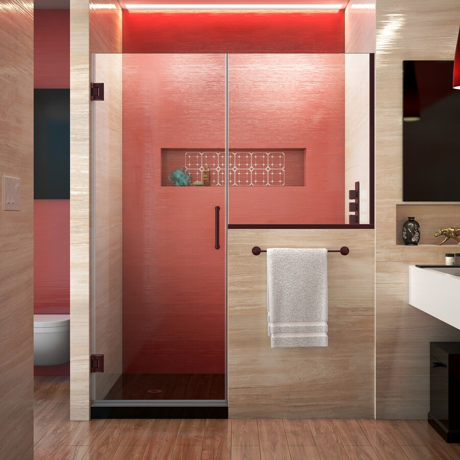 DreamLine Unidoor Plus 64-in to 64.5-in Frameless Oil-Rubbed Bronze Hinged Shower Door