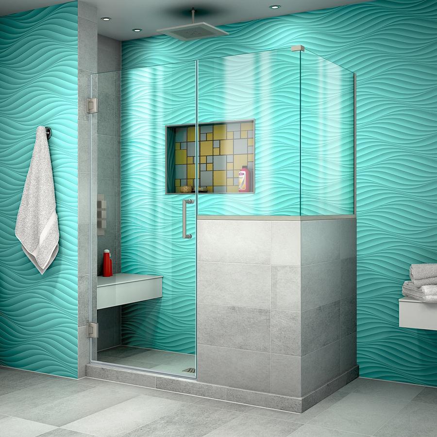 DreamLine Unidoor Plus 48-in to 48-in Frameless Brushed Nickel Hinged Shower Door