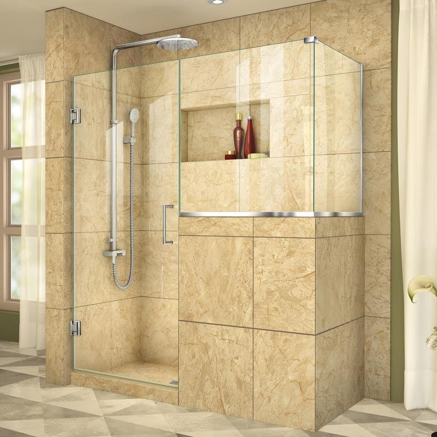 DreamLine Unidoor Plus 57-in to 57-in Frameless Polished Chrome Hinged Shower Door