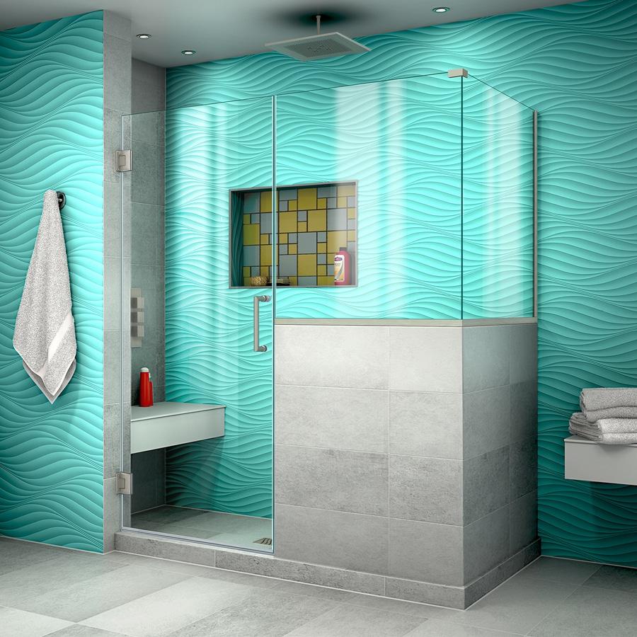 DreamLine Unidoor Plus 59-in to 59-in W Frameless Brushed Nickel Hinged Shower Door