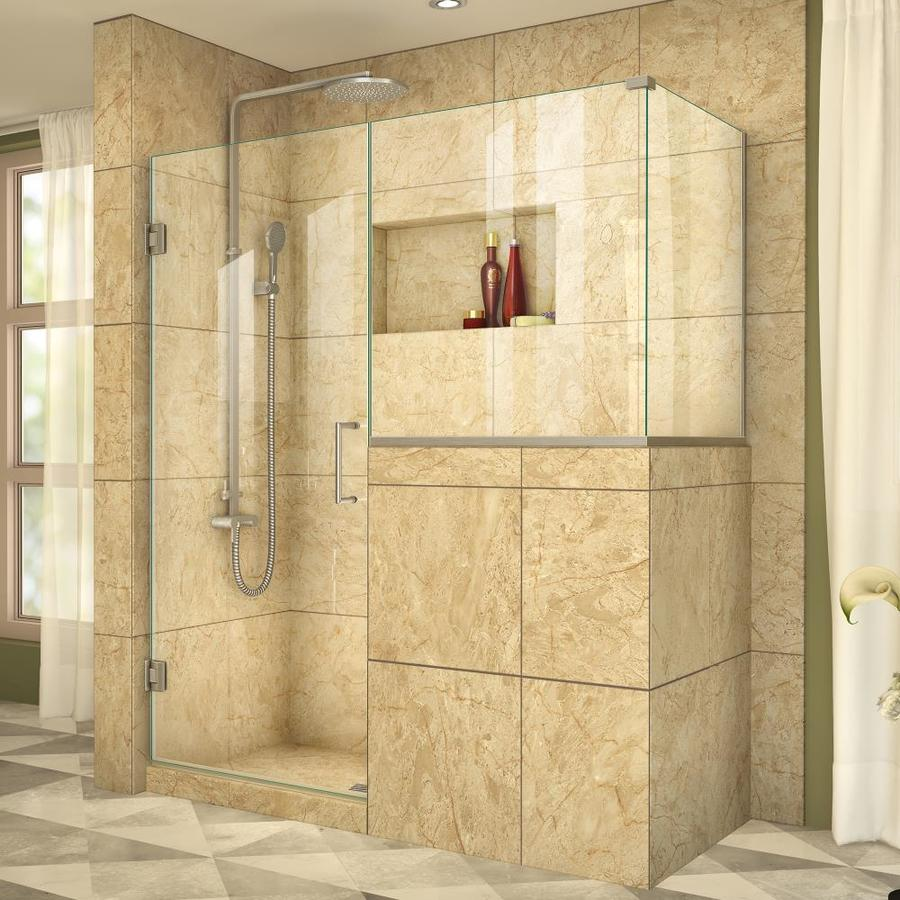 DreamLine Unidoor Plus 59-in to 59-in W Frameless Brushed Nickel Hinged Shower Door