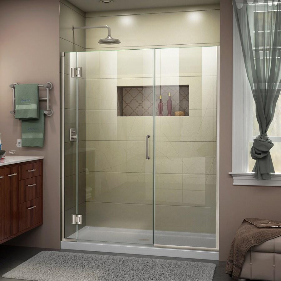 DreamLine Unidoor-X 52-in to 52.5-in W Frameless Brushed Nickel Hinged Shower Door