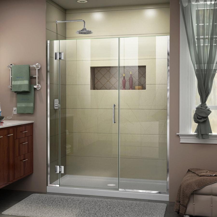 DreamLine Unidoor-X 60.5-in to 61-in W Frameless Chrome Hinged Shower Door