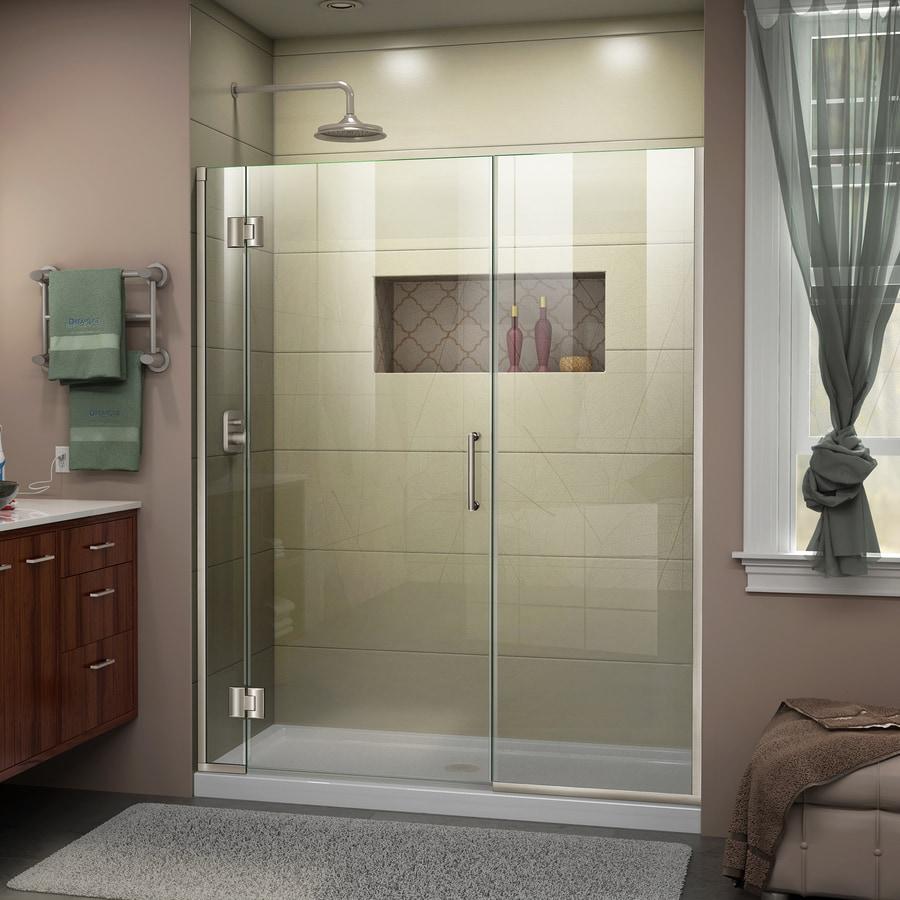DreamLine Unidoor-X 53-in to 53.5-in Frameless Brushed Nickel Hinged Shower Door