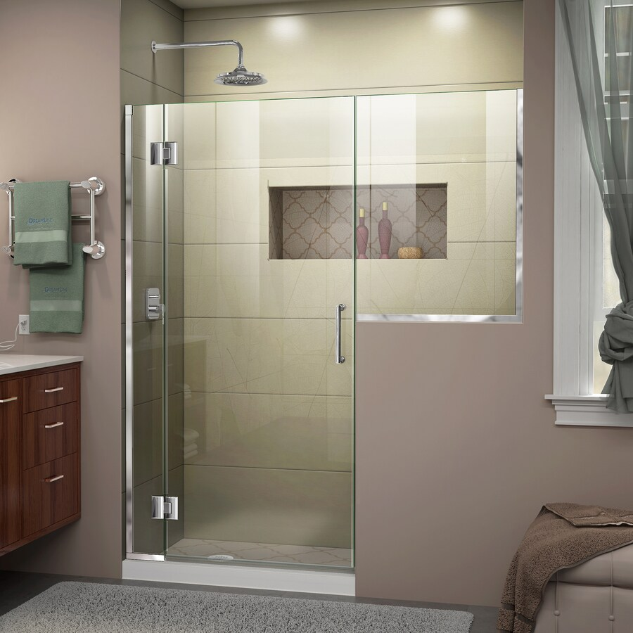 DreamLine Unidoor-X 62-in to 62.5-in W Frameless Chrome Hinged Shower Door