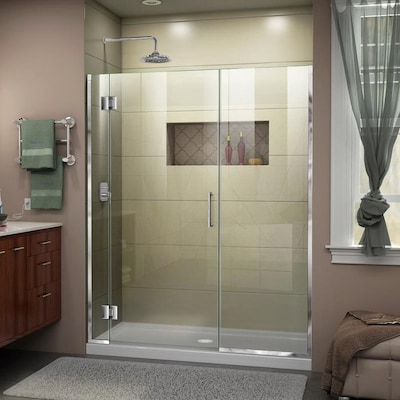 Dreamline Unidoor X 72 In H X 55 In To 55 5 In W Frameless Hinged Chrome Shower Door Clear Glass In The Shower Doors Department At Lowes Com
