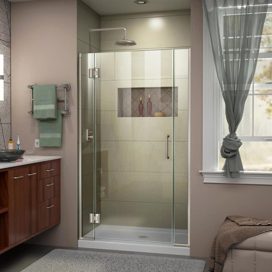 DreamLine Unidoor-X 41.5000-in to 42-in Frameless Brushed Nickel Hinged Shower Door