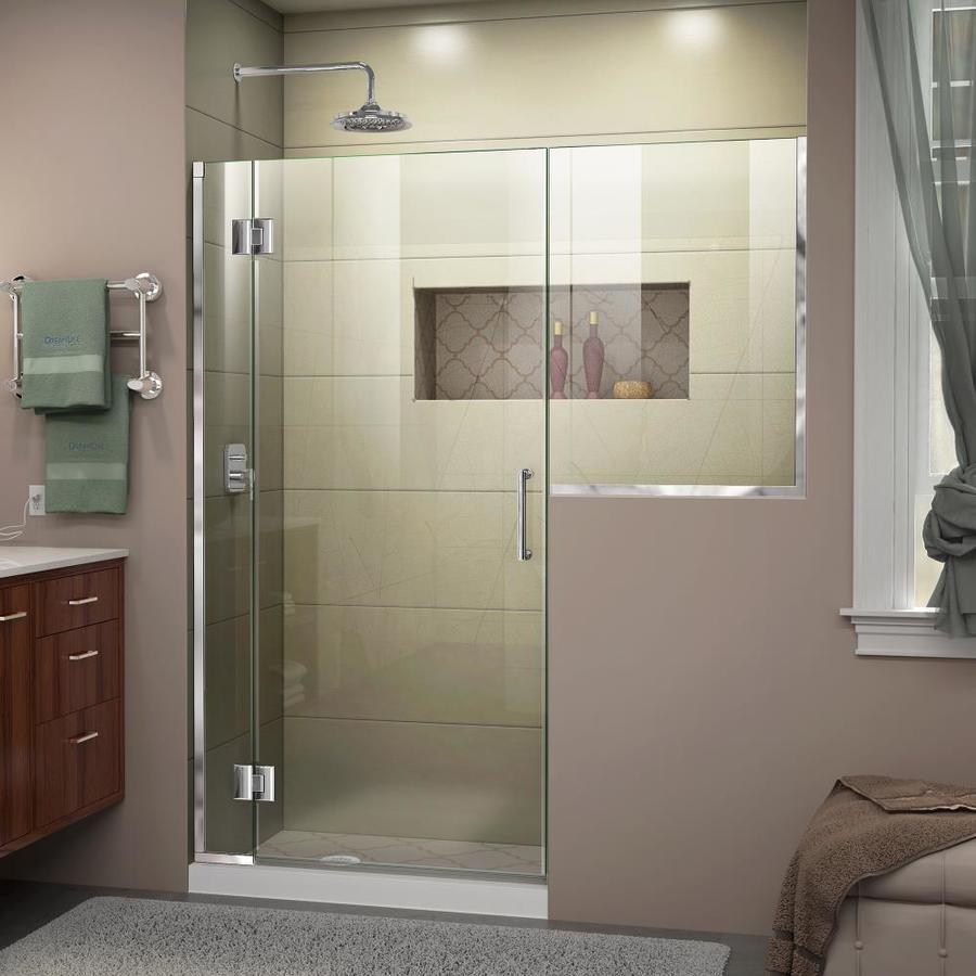 DreamLine Unidoor-X 65-in to 65.5-in W Frameless Chrome Hinged Shower Door