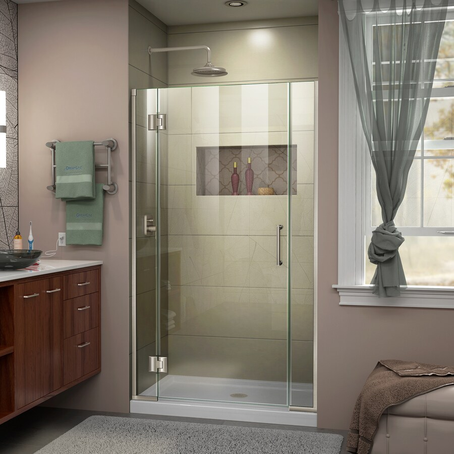 DreamLine Unidoor-X 42-in to 42.5-in W Frameless Brushed Nickel Hinged Shower Door
