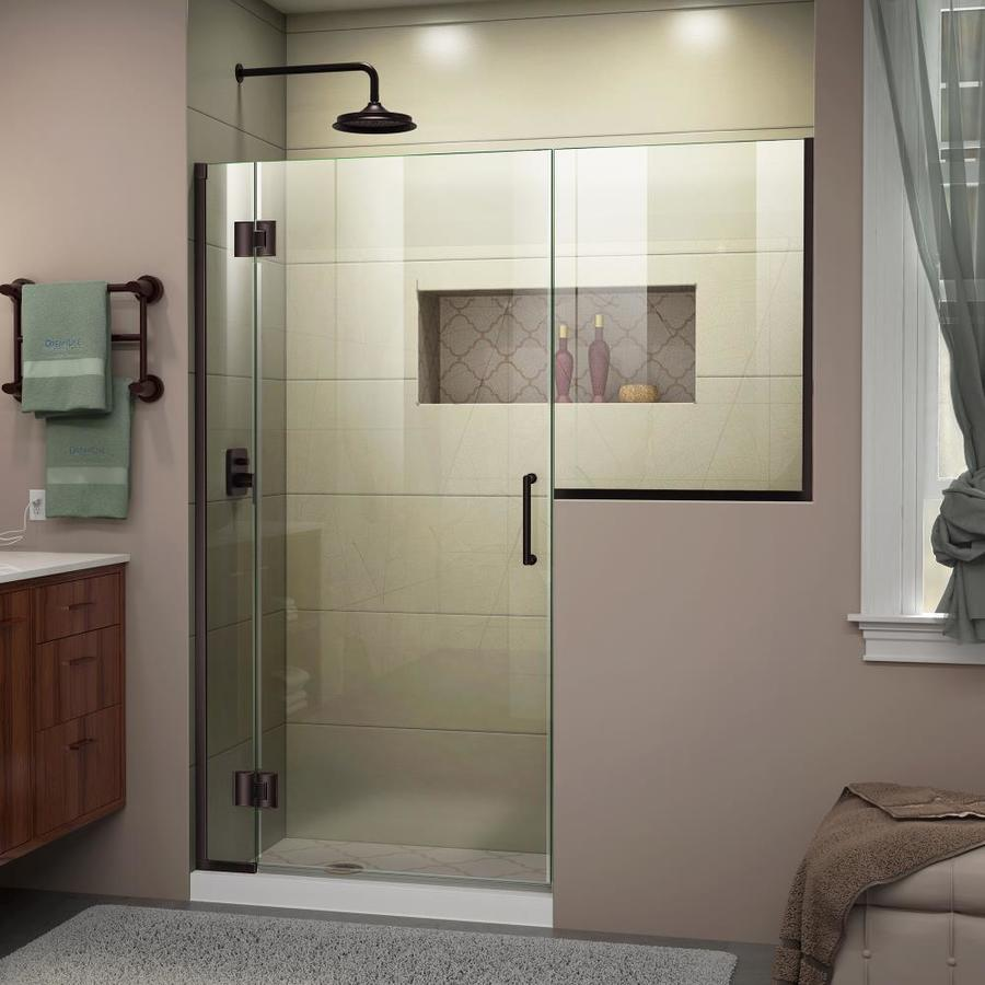 DreamLine Unidoor-X 66-in to 66.5-in Frameless Oil-Rubbed Bronze Hinged Shower Door