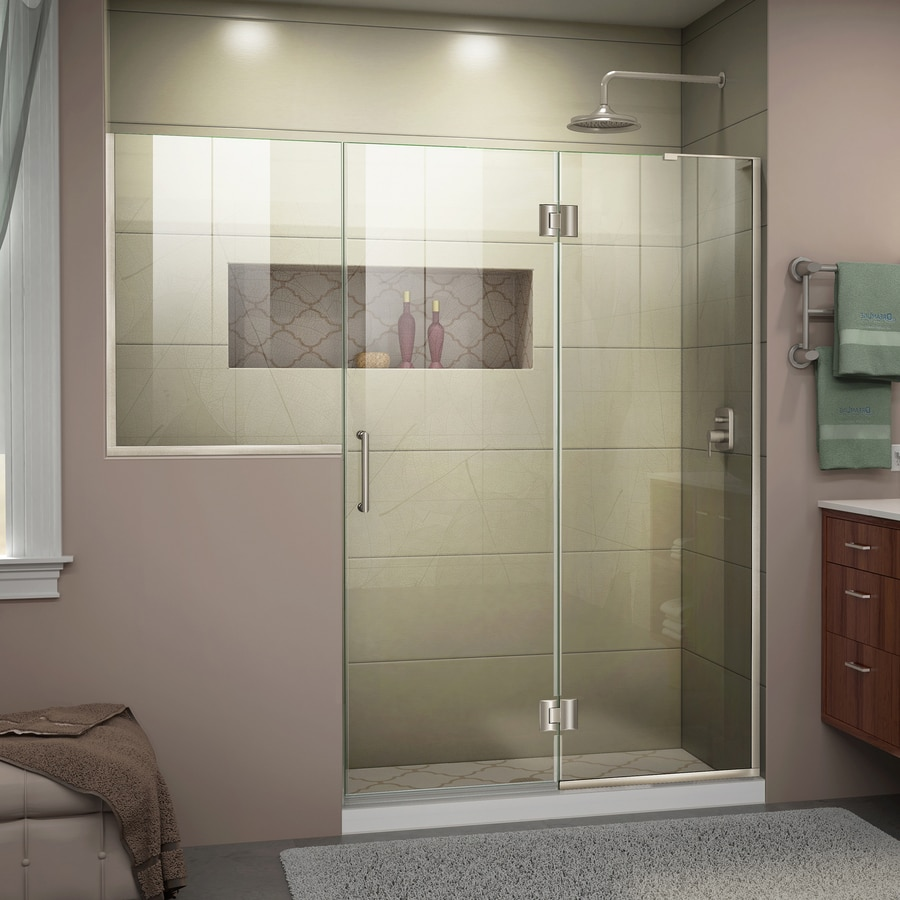 DreamLine Unidoor-X 71-in to 71.5-in W Frameless Brushed Nickel Hinged Shower Door