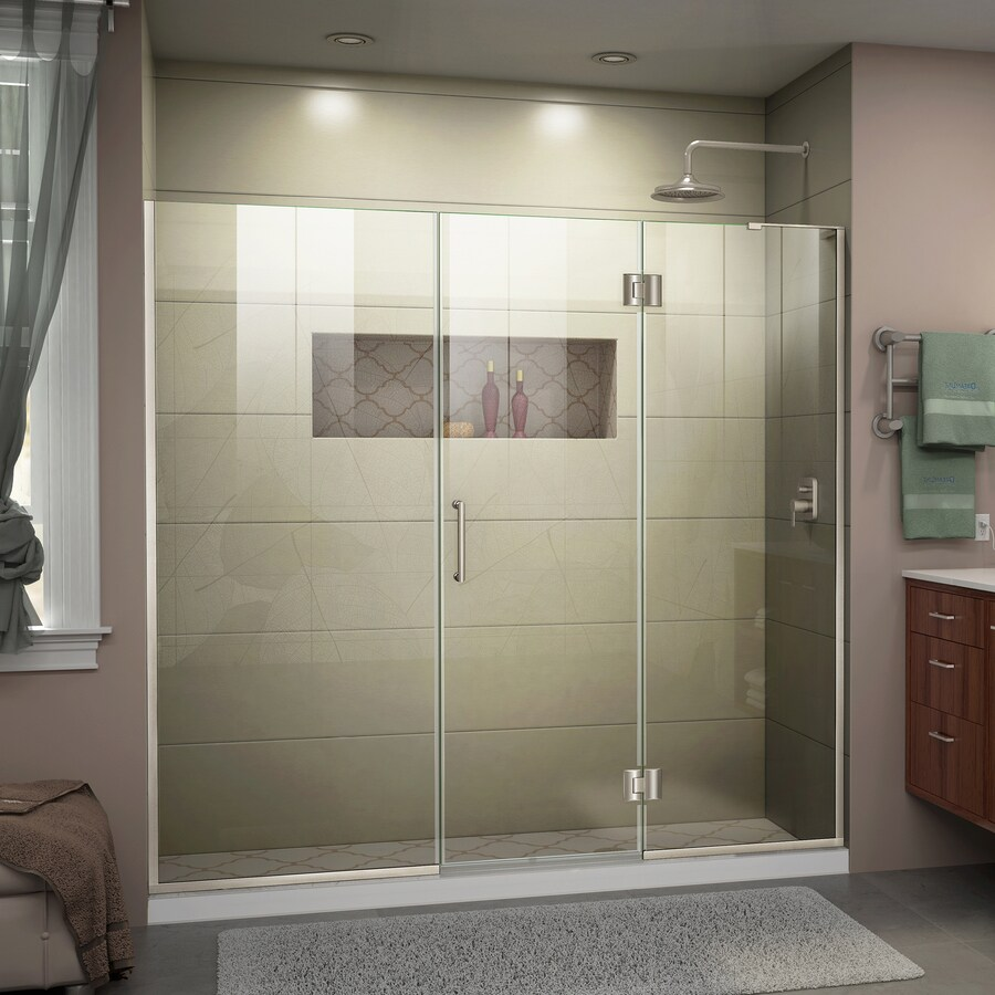 DreamLine Unidoor-X 62-in to 62.5-in W Frameless Brushed Nickel Hinged Shower Door