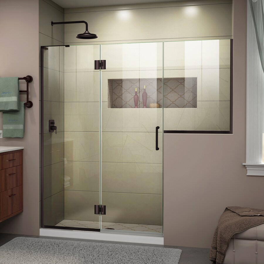 DreamLine Unidoor-X 72-in to 72.5-in Frameless Oil-Rubbed Bronze Hinged Shower Door