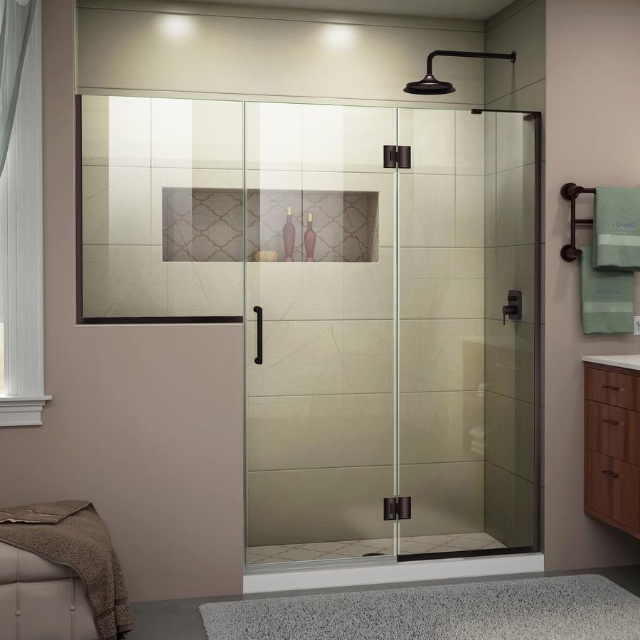 DreamLine Unidoor-X 72-in to 72.5-in W Frameless Oil-Rubbed Bronze Hinged Shower Door