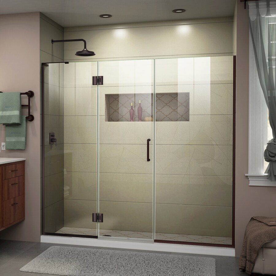 DreamLine Unidoor-X 63-in to 63.5-in W Frameless Oil-Rubbed Bronze Hinged Shower Door