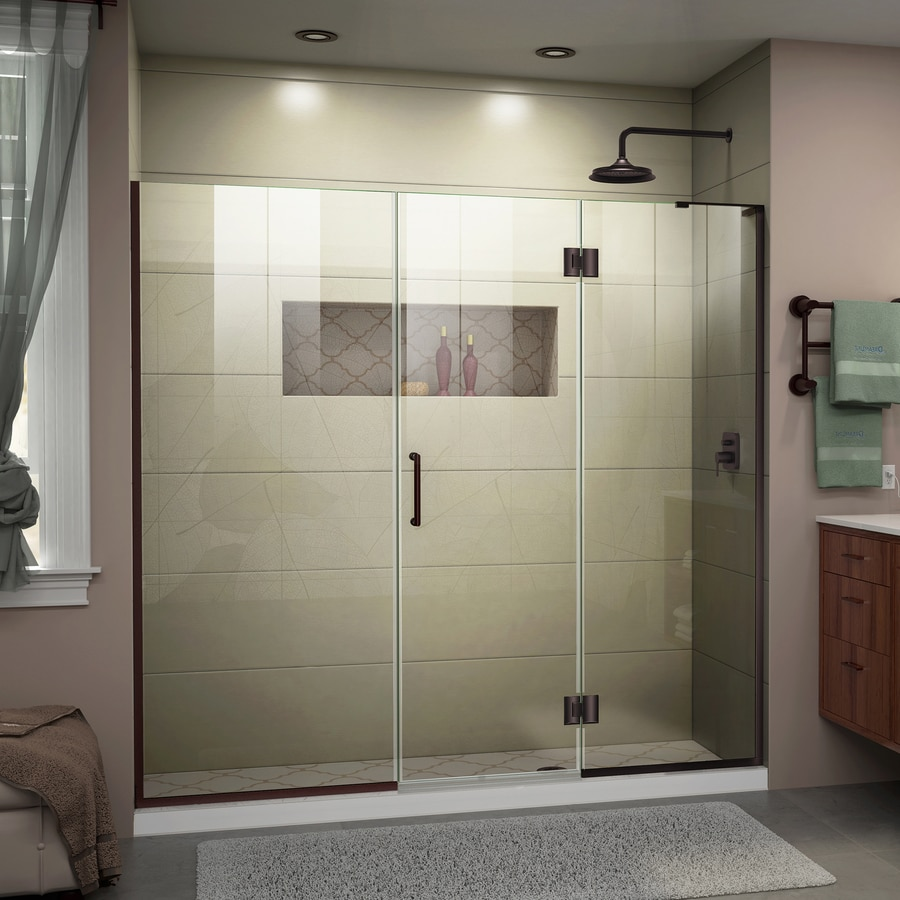 DreamLine Unidoor-X 63-in to 63.5-in Frameless Oil-Rubbed Bronze Hinged Shower Door