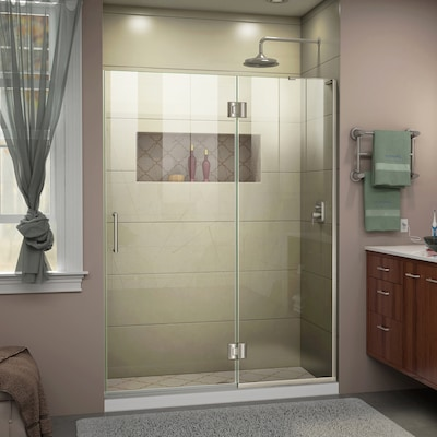Unidoor X 49 In To W Frameless Hinged Brushed Nickel Shower Door