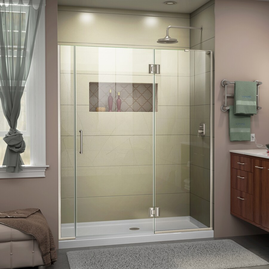 DreamLine Unidoor-X 56-in to 56.5-in W Frameless Brushed Nickel Hinged Shower Door