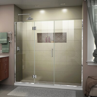 Unidoor X 64 In To 5 W Frameless Hinged Chrome Shower Door
