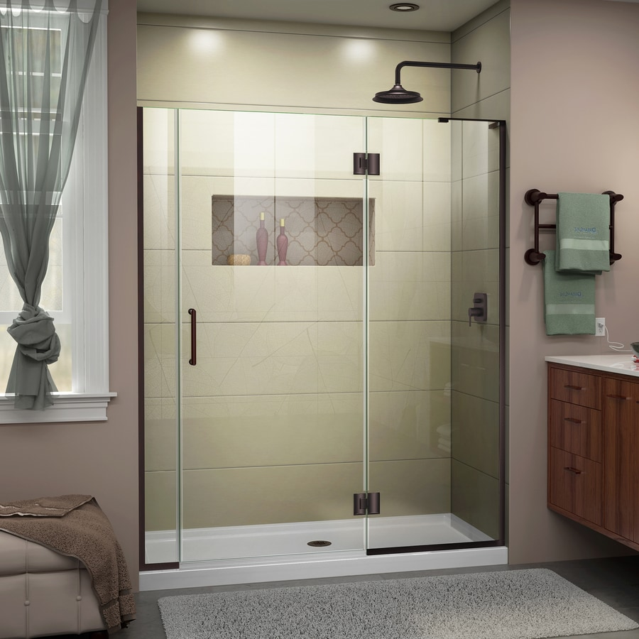 DreamLine Unidoor-X 57.5-in to 58-in W Frameless Oil-Rubbed Bronze Hinged Shower Door