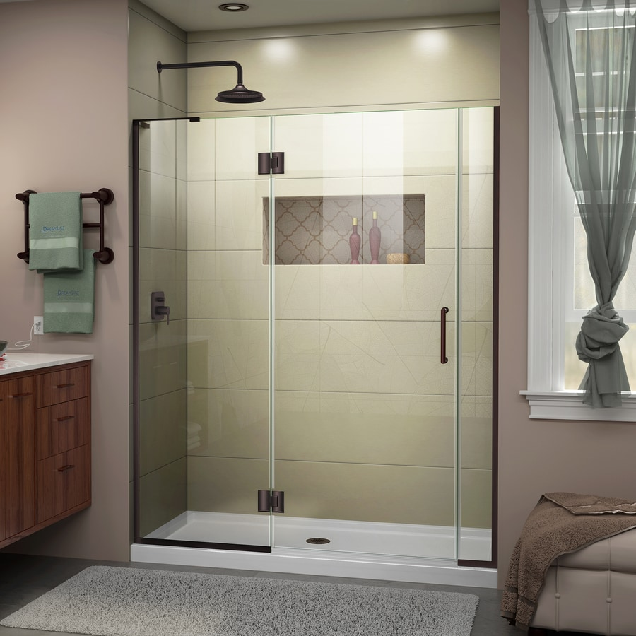 DreamLine Unidoor-X 57-in to 57.5-in W Frameless Oil-Rubbed Bronze Hinged Shower Door