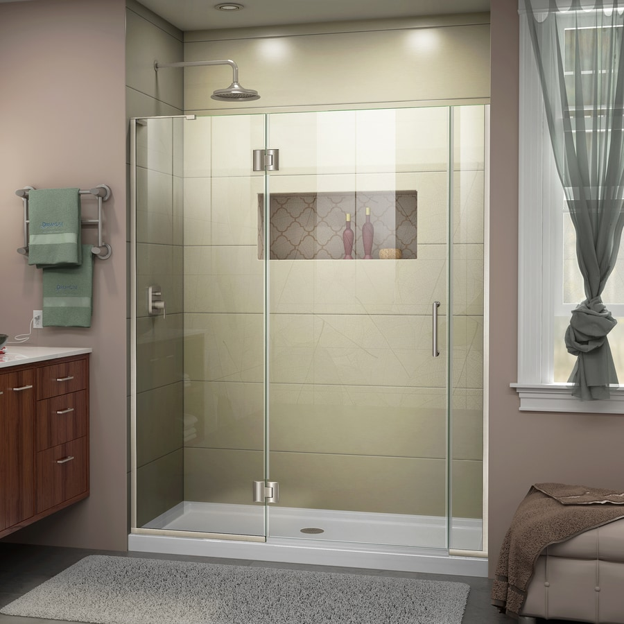 DreamLine Unidoor-X 58.5-in to 59-in W Frameless Brushed Nickel Hinged Shower Door
