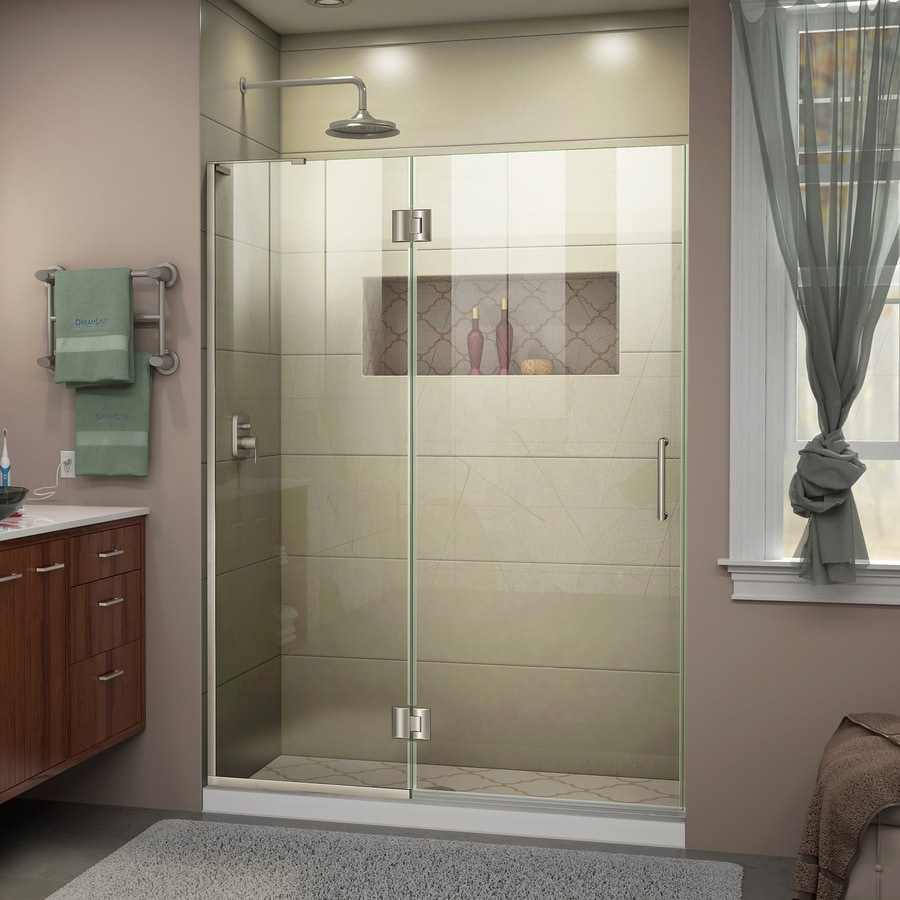 DreamLine Unidoor-X 52-in to 52-in W Frameless Brushed Nickel Hinged Shower Door