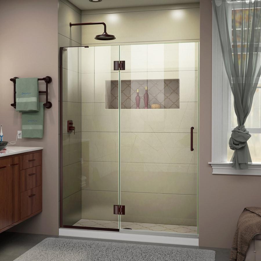 DreamLine Unidoor-X 53-in to 53-in W Frameless Oil Rubbed Bronze Hinged Shower Door