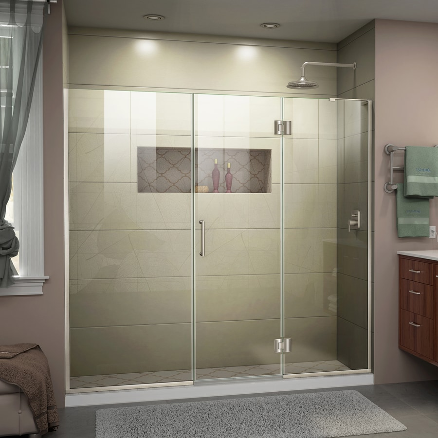 DreamLine Unidoor-X 68.5-in to 69-in W Frameless Brushed Nickel Hinged Shower Door