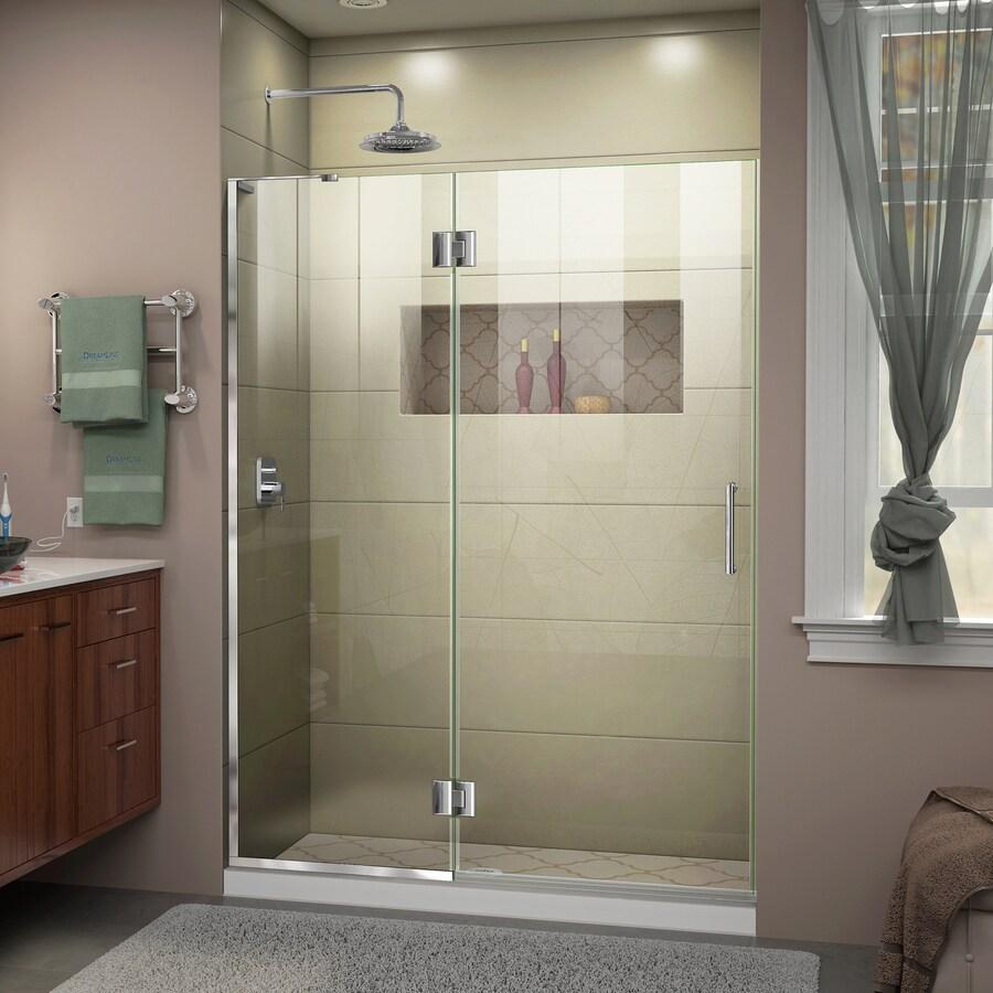 DreamLine Unidoor-X 54-in to 54-in W Frameless Chrome Hinged Shower Door