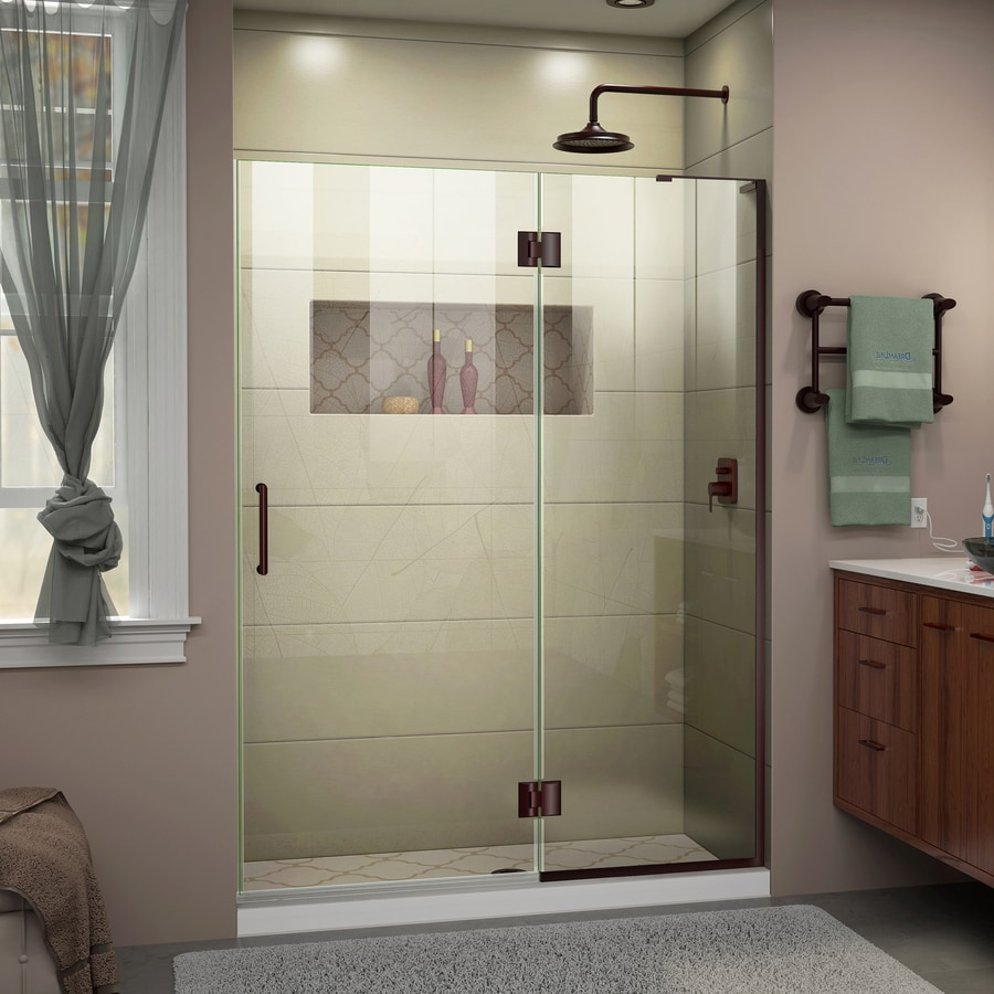 DreamLine Unidoor-X 54-in to 54-in Frameless Oil-Rubbed Bronze Hinged Shower Door