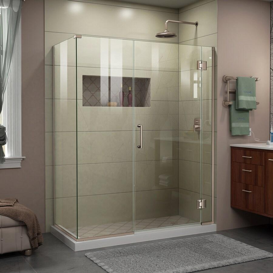 DreamLine Unidoor-X 35-in to 35-in W Frameless Brushed Nickel Hinged Shower Door