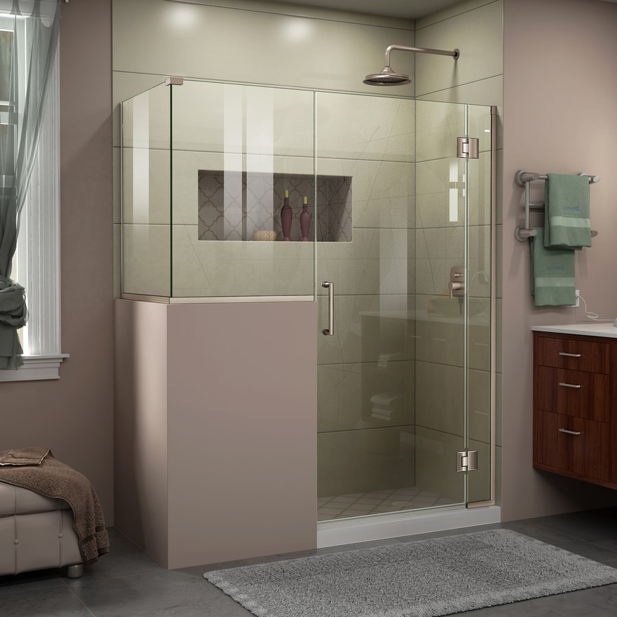DreamLine Unidoor-X 59-in to 59-in W Frameless Brushed Nickel Hinged Shower Door
