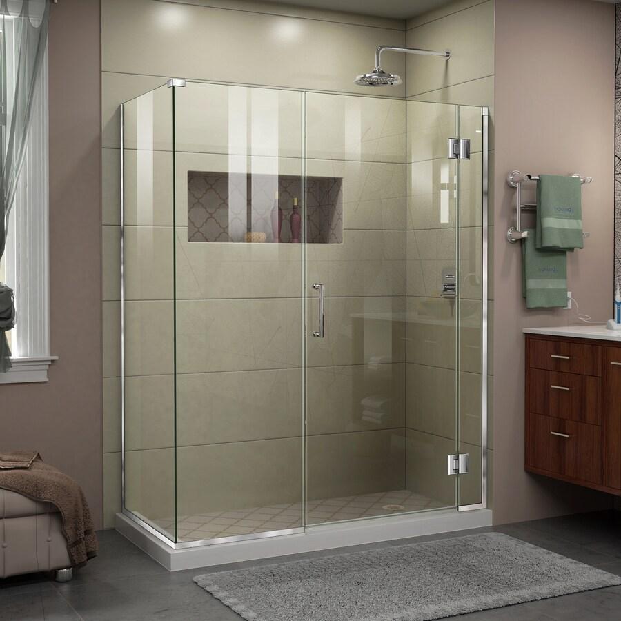 DreamLine Unidoor-X 59.5000-in to 59.5000-in Frameless Chrome Hinged Shower Door