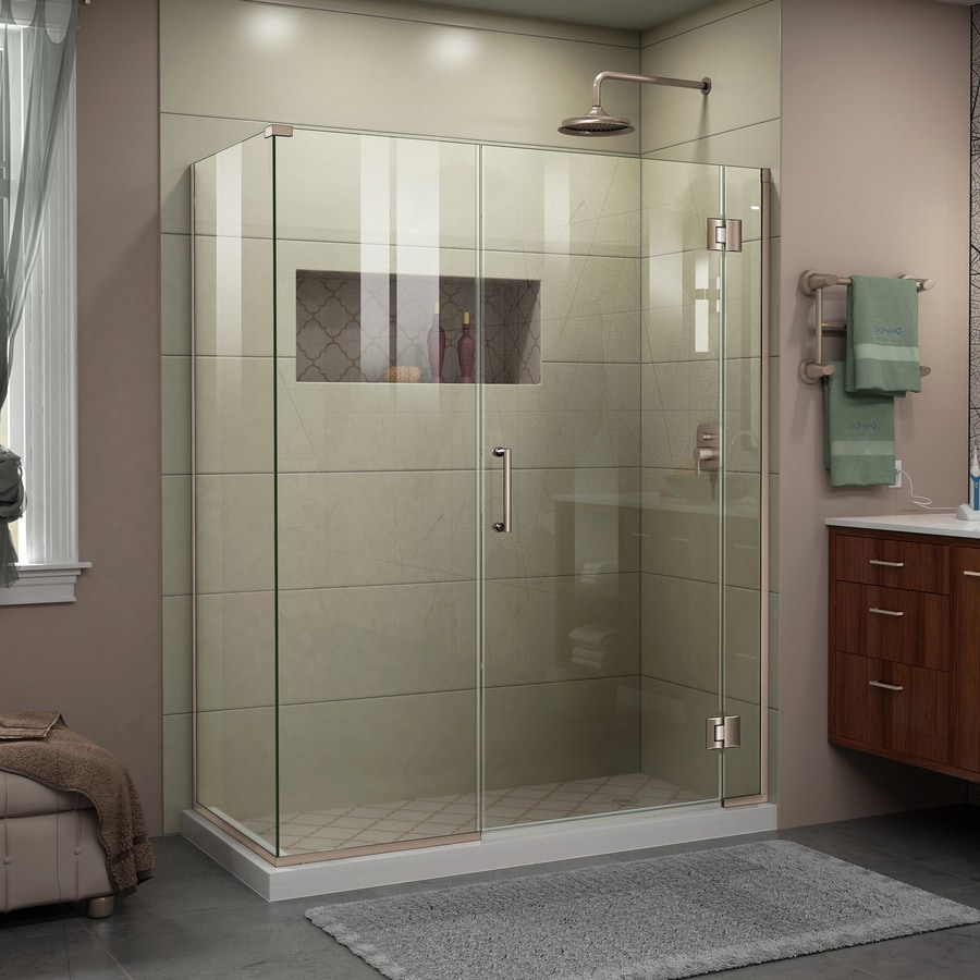 DreamLine Unidoor-X 59.5-in to 59.5-in W Frameless Brushed Nickel Hinged Shower Door