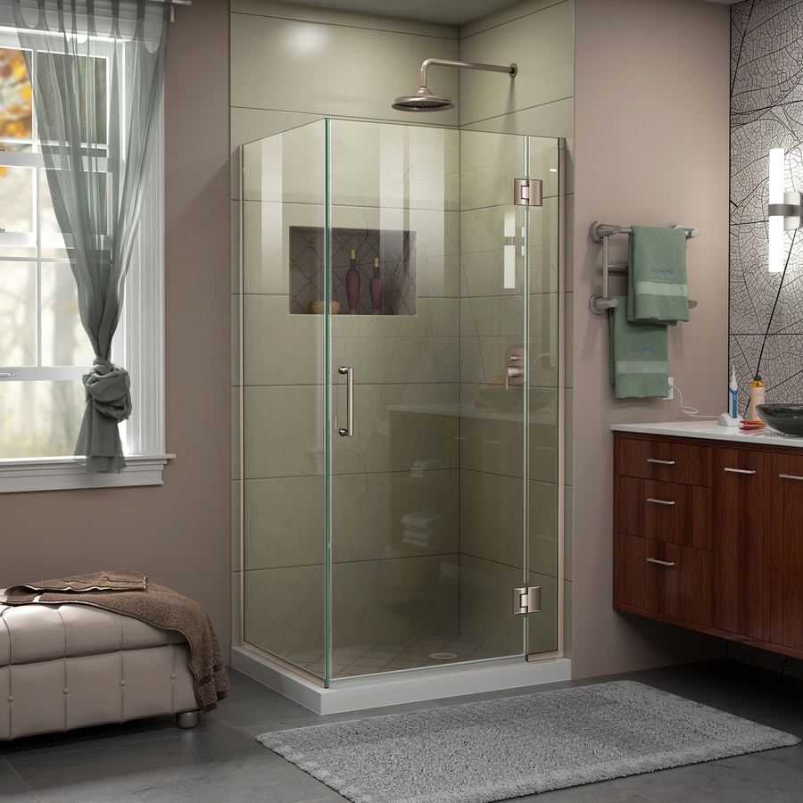 DreamLine Unidoor-X 30.375-in to 30.375-in W Frameless Brushed Nickel Hinged Shower Door