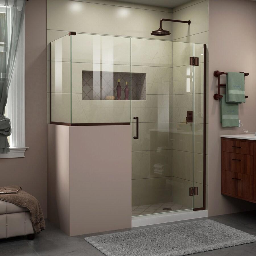 DreamLine Unidoor-X 60-in to 60-in Frameless Oil Rubbed Bronze Hinged Shower Door