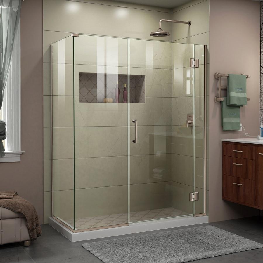 DreamLine Unidoor-X 45.5-in to 45.5-in Frameless Brushed Nickel Hinged Shower Door