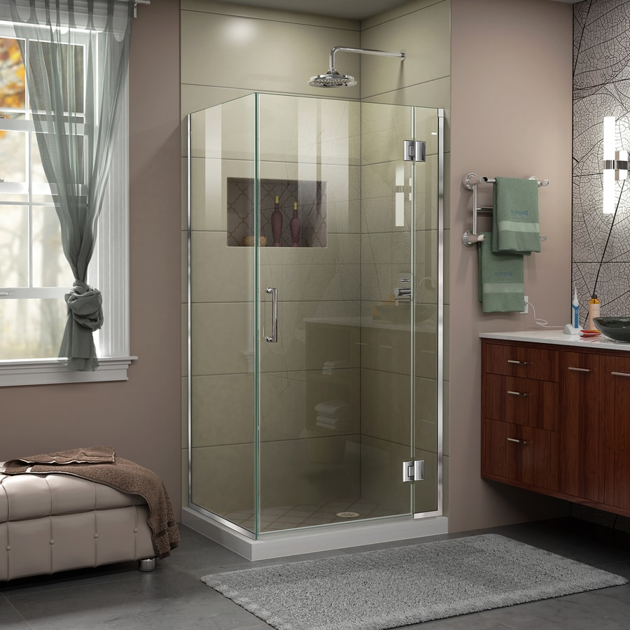 DreamLine Unidoor-X 33.375-in to 33.375-in W Frameless Chrome Hinged Shower Door